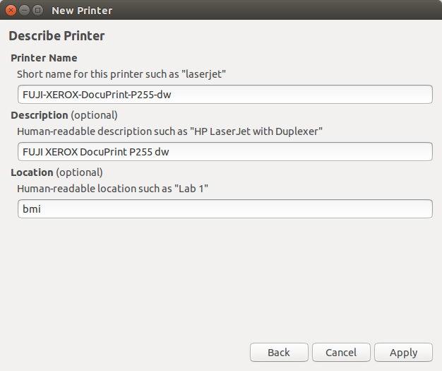 Printer's description