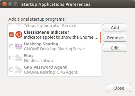 Menambah classicmenu-indicator ke dalam daftar Startup Application