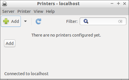 There are no printers configured yet