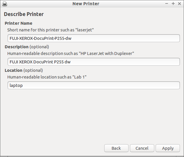 New printer description