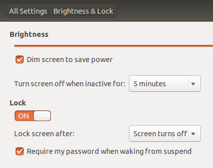 Brighness and lock settings