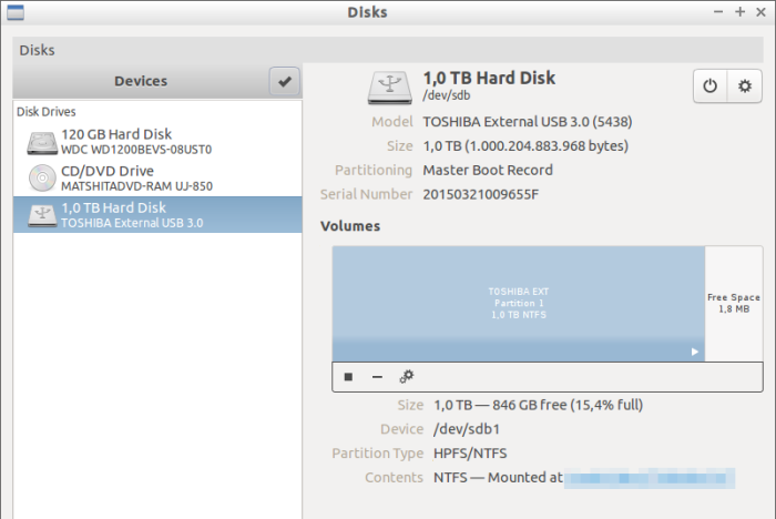 GNOME disks utility