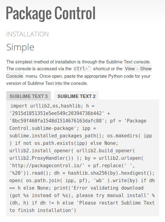 Sublime Text 2 package control installation