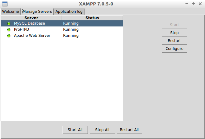 XAMPP admin panel