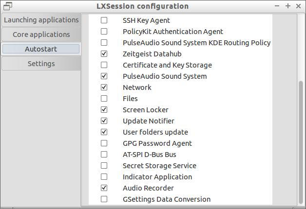 LXSession configuration window