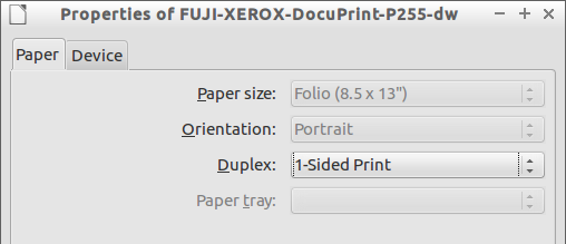 Paper size idle
