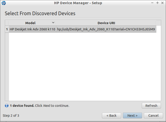 Select from discovered devices