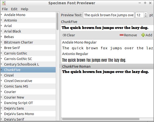 Specimen Font Previewer