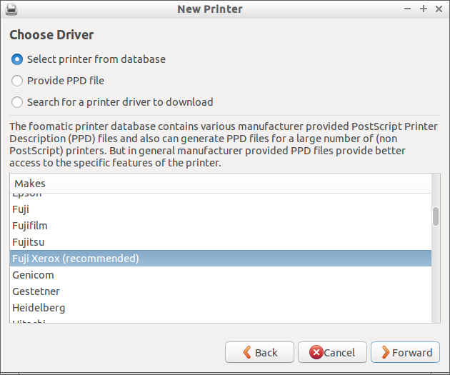 Select printer from database