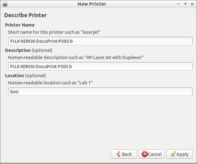 Describe printer