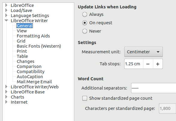 LibreOffice Writer measurement unit