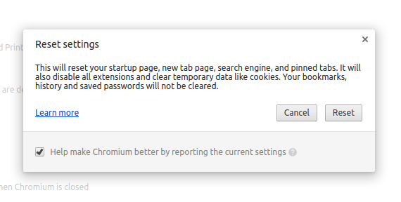 Reset Chromium settings