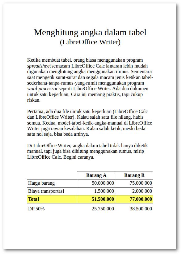 Teks dan tabel dengan rumus otomatis